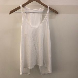 Lululemon white open black tank, sz 6, 68281